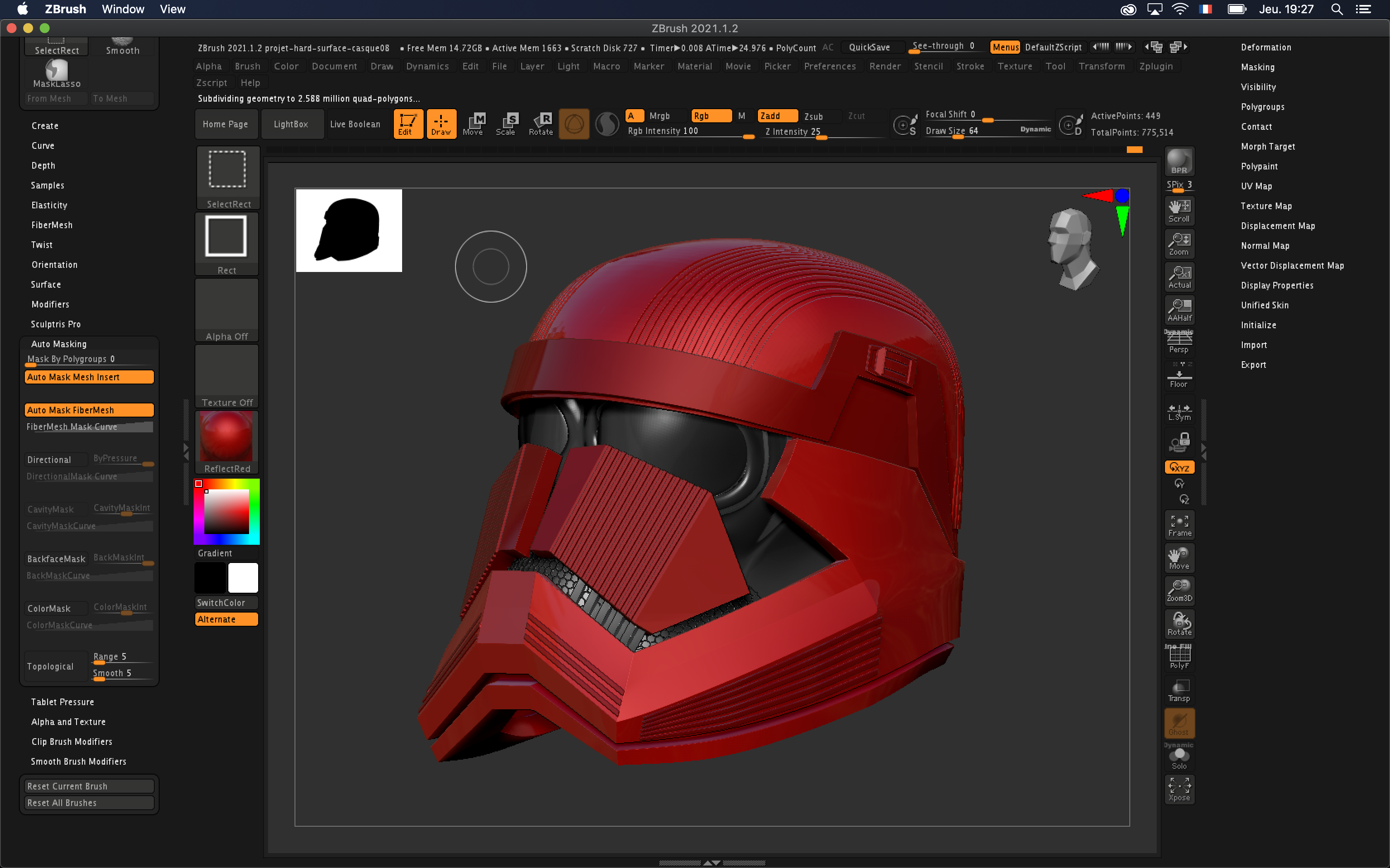 casque sith starwars formation zbrush notions avancees nicolas delille
